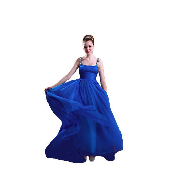 ... Dlhé modré spoločenské šaty na ramienka 80905. Výpredaj 22f199f3528