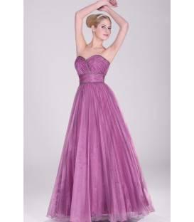 Dlhé fialové plisované spoločenské šaty 2810616