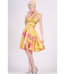 Krátke kvetované spoločenské šaty s ramienkami okolo krku 99403
